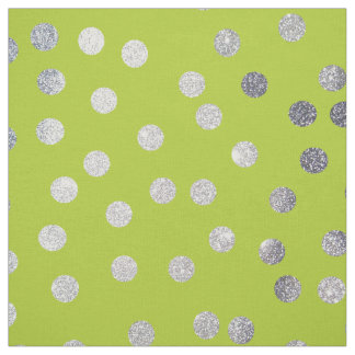Lime Green and Silver City Dots Fabric