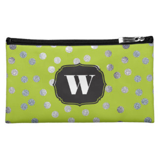 Lime Green and Silver Glitter Dots Custom Monogram Makeup Bag