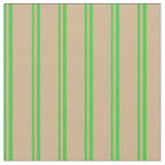 [ Thumbnail: Lime Green and Tan Colored Pattern of Stripes Fabric ]