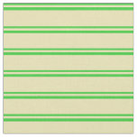 [ Thumbnail: Lime Green and Tan Colored Stripes Pattern Fabric ]