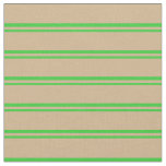 [ Thumbnail: Lime Green and Tan Lined/Striped Pattern Fabric ]