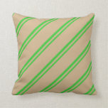 [ Thumbnail: Lime Green and Tan Lined/Striped Pattern Pillow ]