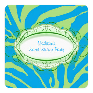 Lime Green and Teal Blue Zebra Birthday Party Card