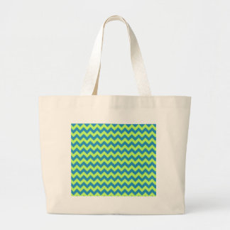 Lime Green and Teal Chevron Canvas Bag