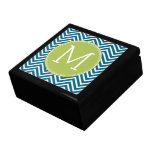 Lime Green and Teal Chevron Pattern Monogram Trinket Box