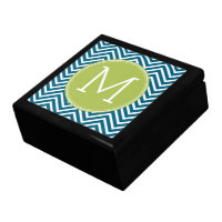 Lime Green and Teal Chevron Pattern Monogram Jewelry Box