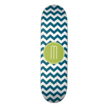 Lime Green and Teal Chevron Pattern Monogram Skateboard Deck