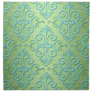 Lime Green and Teal Fancy Damask Napkin