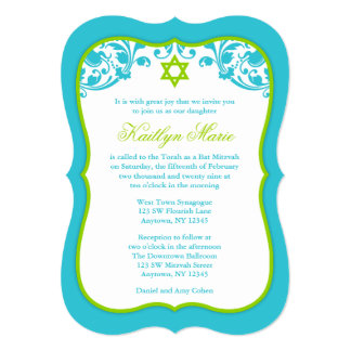 Lime Green and Teal Swirls Bat Mitzvah Card