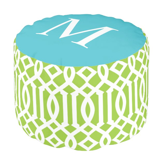 Lime Green And Turquoise Moroccan Trellis Monogram Pouf