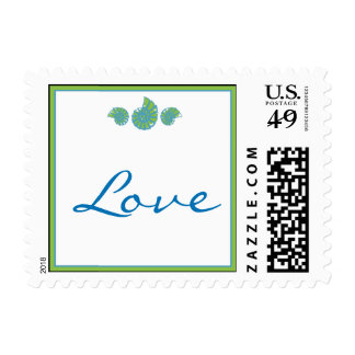 Lime Green and Turquoise Seashell Postage Stamp