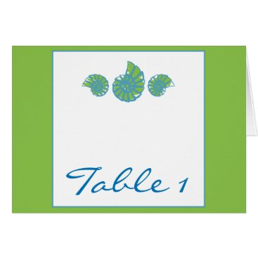 Beach Themed Lime Green and Turquoise Seashell Table Number