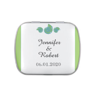 Lime Green and Turquoise Seashell Wedding Jelly Belly Tins