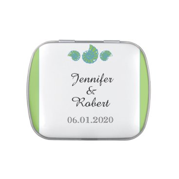 Beach Themed Lime Green and Turquoise Seashell Wedding Jelly Belly Tins
