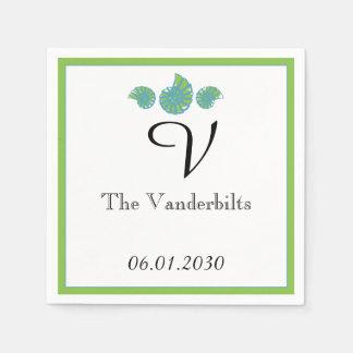 Lime Green and Turquoise Seashell Wedding Napkin