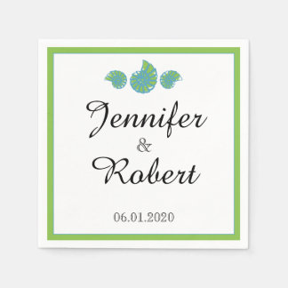 Lime Green and Turquoise Seashell Wedding Paper Napkin