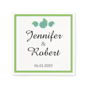 Beach Themed Lime Green and Turquoise Seashell Wedding Paper Napkin