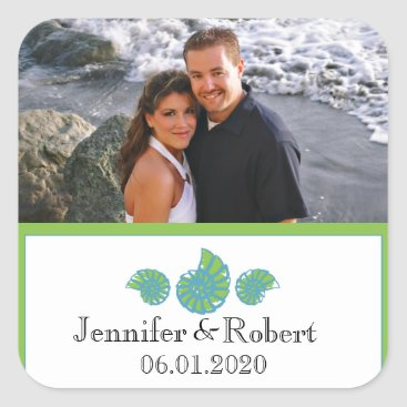 Beach Themed Lime Green and Turquoise Seashell Wedding Square Sticker