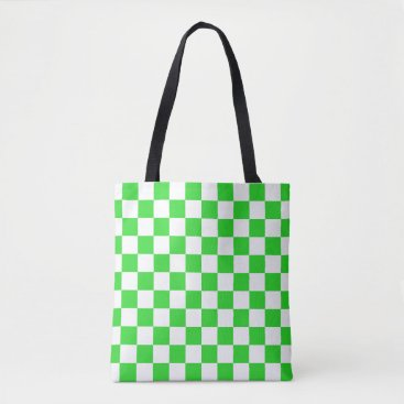 Beach Themed Lime Green and White Checkerboard Pattern Tote Bag