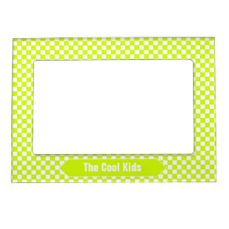 Lime Green and White Checkered Custom Photo Magnetic Frame