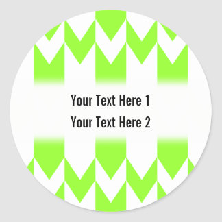 Lime Green and White Chevron Pattern. Classic Round Sticker