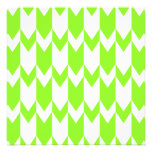 Lime Green and White Chevron Pattern. Personalized Announcement