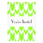 Lime Green and White Chevron Pattern. Personalized Invitations