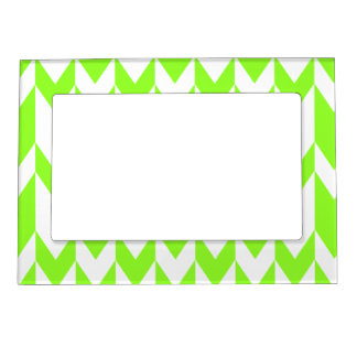 Lime Green and White Chevron Pattern. Magnetic Photo Frame