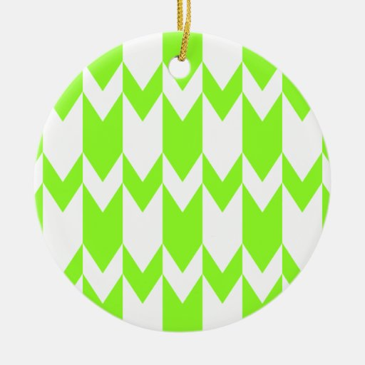 Lime Green and White Chevron Pattern. Ornament