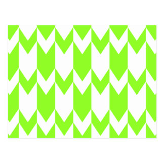 Lime Green and White Chevron Pattern. Postcard
