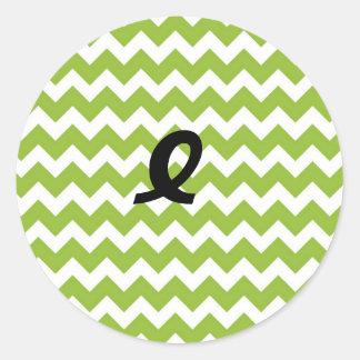 Lime Green and White Chevron Stripe Classic Round Sticker