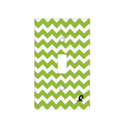 Lime Green and White Chevron Stripe Light Switch Covers