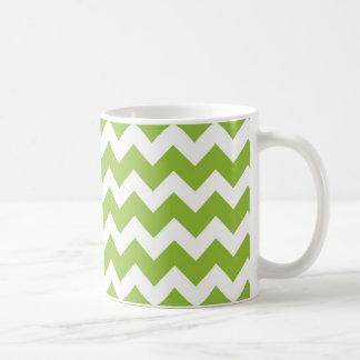 Lime Green and White Chevron Stripe Classic White Coffee Mug