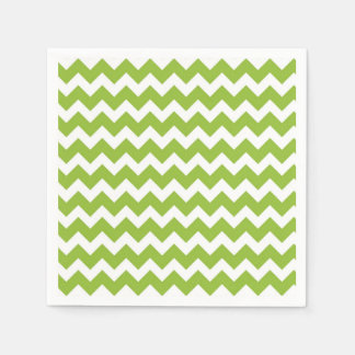 Lime Green and White Chevron Stripe Paper Napkin