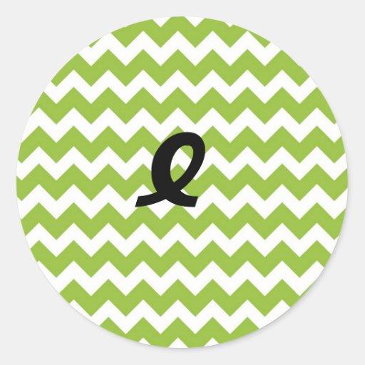 Lime Green and White Chevron Stripe Sticker
