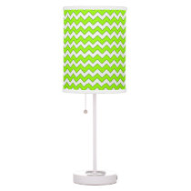 Lime Green and White Chevron Zigzag Pattern Table Lamp