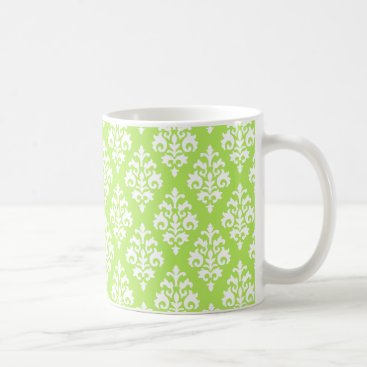 Coffee Themed Lime Green and White Damask Coffee Mug