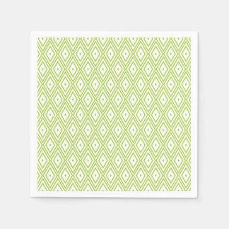 Lime Green and White Diamond Paper Napkins