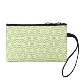 Lime Green and White Diamonds Coin Purse