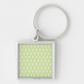Lime Green and White Diamonds Keychain