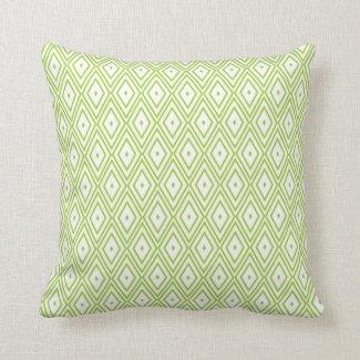 Lime Green and White Diamonds Throw Pillow