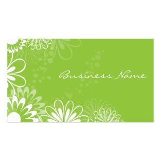 Lime Green and White Floral Business Card