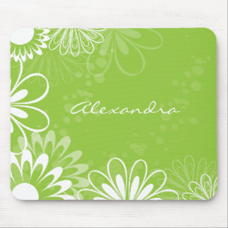 Lime Green and White Floral Mousepad