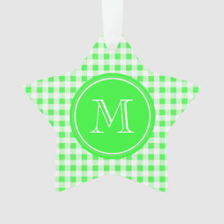 Lime Green and White Gingham, Your Monogram