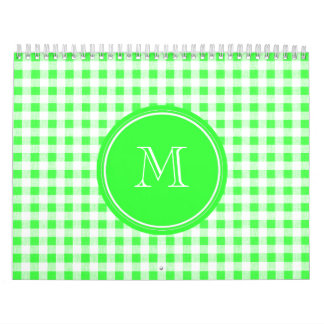 Lime Green and White Gingham, Your Monogram Calendar
