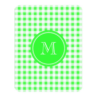 Lime Green and White Gingham, Your Monogram Card