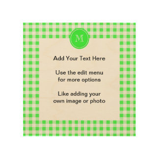 Lime Green and White Gingham, Your Monogram Wood Print