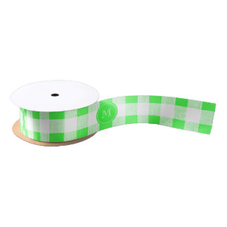 Lime Green and White Gingham, Your Monogram Satin Ribbon