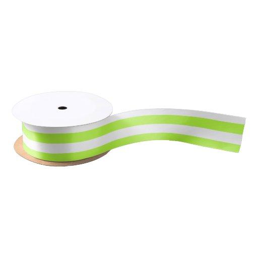 Lime Green and White Horizontal Stripes Satin Ribbon | Zazzle