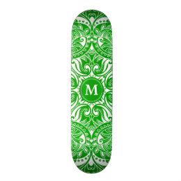 Lime Green and White Mandala  - Monogram Skateboard Deck